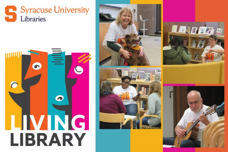 Four photos of people in Bird Library speaking to each other, one with a guitar, with Living Library colorful books with faces logo