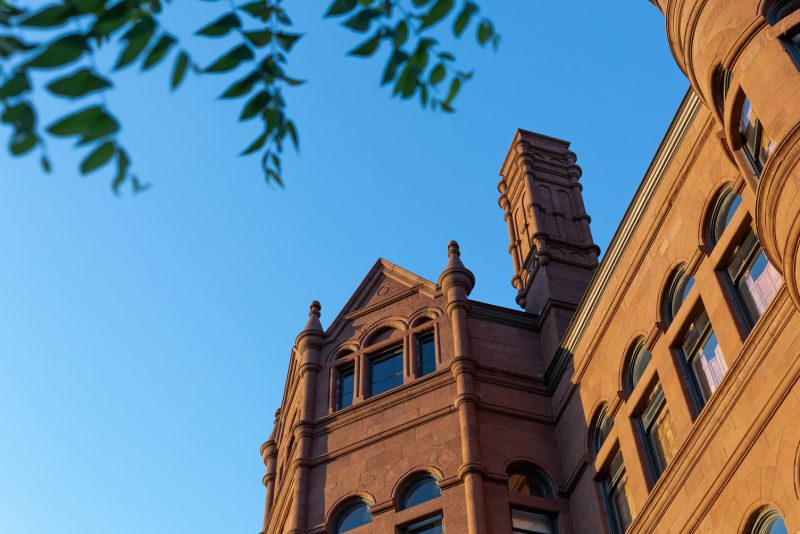 An upward looking shot of Crouse College basked in light and framed by tree branches.