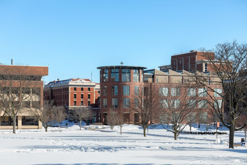 Shaffer Art Building during the winter.