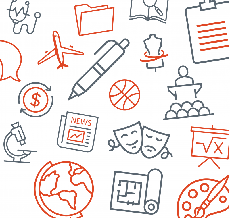 Icons representing different fields of study, including a dollar sign, microscope, globe, newspaper, pen, theatre mask, lectern, paintbrush, and more.