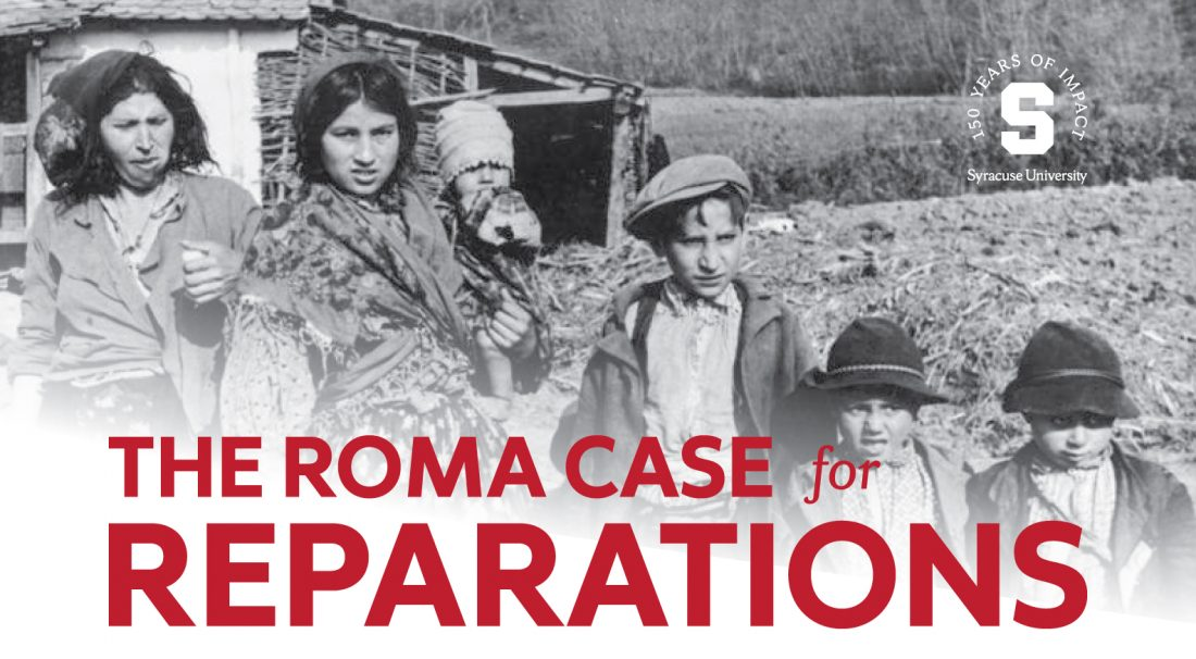 The Roma Case for Reparations, with background image of four Roma children in 1941