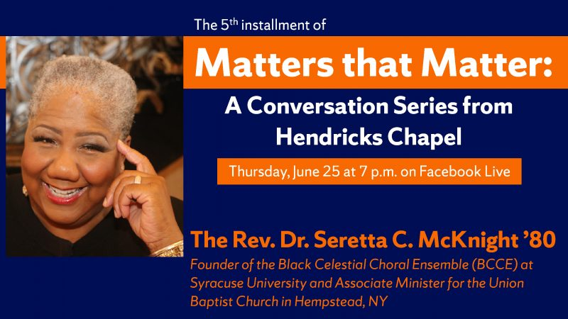 Matters that Matter with Rev. Dr. Seretta C. McKnight graphic