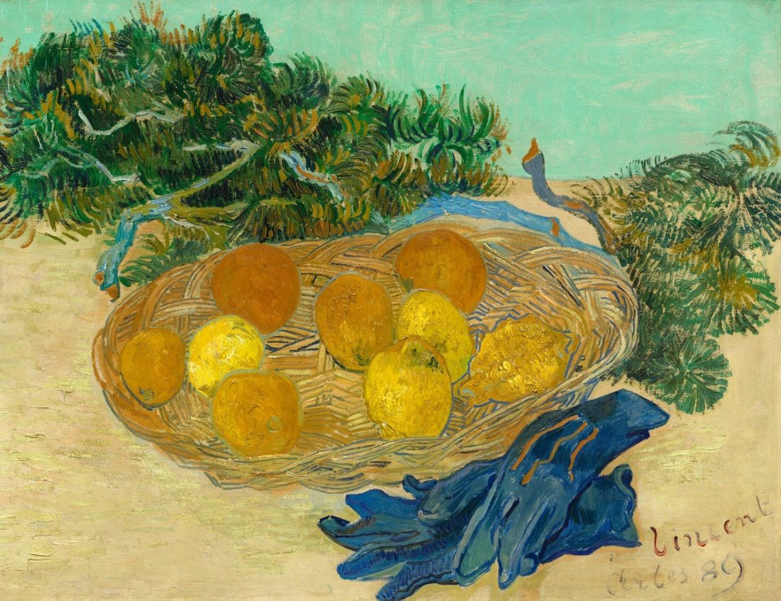Still Life of Oranges and Lemons with Blue Groves by Vincent Van Gogh, dated 1889. From the Collection of Mr. and Mrs. Paul Mellon at the National Gallery of Art