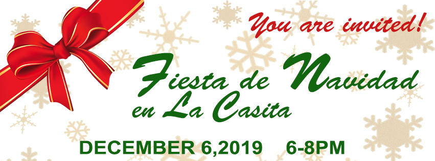 Flyer for Fiesta De Navidad Event featuring snowflake motif, and a Christmas Bow