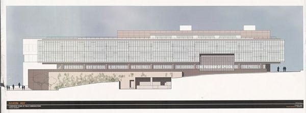 elevated architectural drawing of Newhouse building