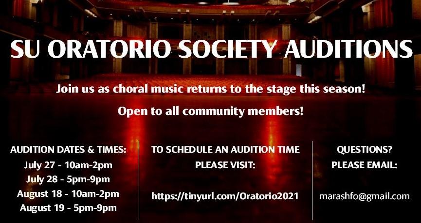 Oratorio 2021 Audition Poster