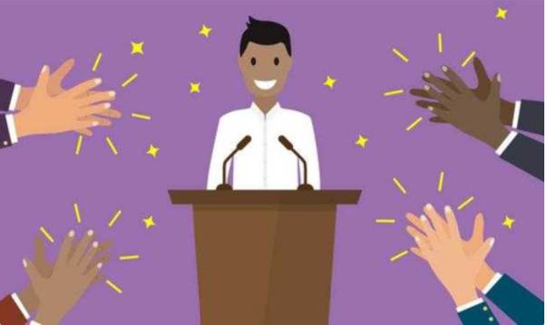 Illustration of a person giving a presentation surrounded by clapping hands.