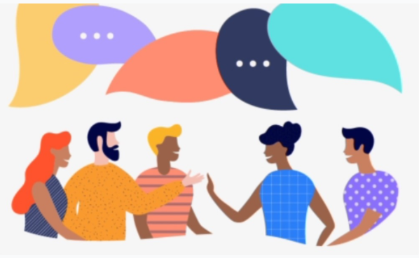 A colorful illustration of people talking to one another