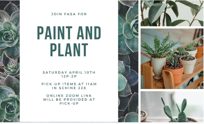 Images of cactus plants, succulents, and a description of the Paint and Plant event