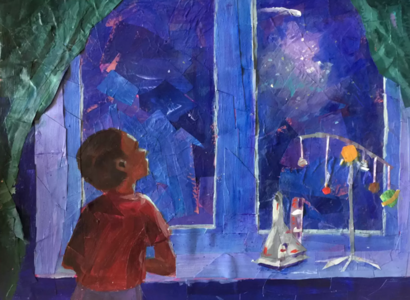 A painted image of a boy looking outside through the window.