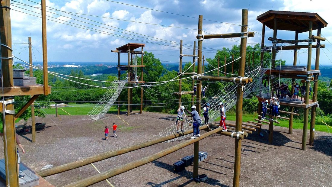 High ropes adventure at the outdoor challenge course.