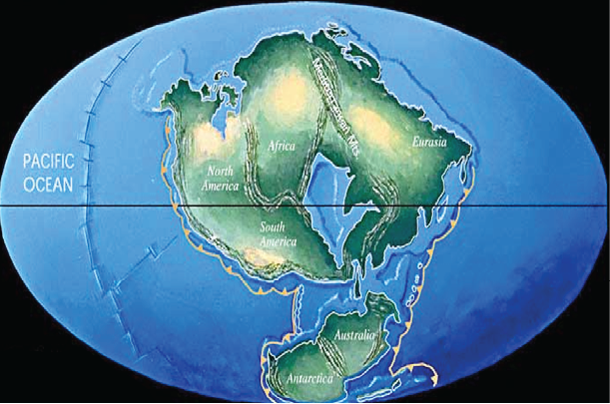 Rendering of earth's continents in the future as imagined