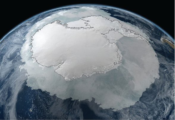 Antarctica as seen from sapce.
