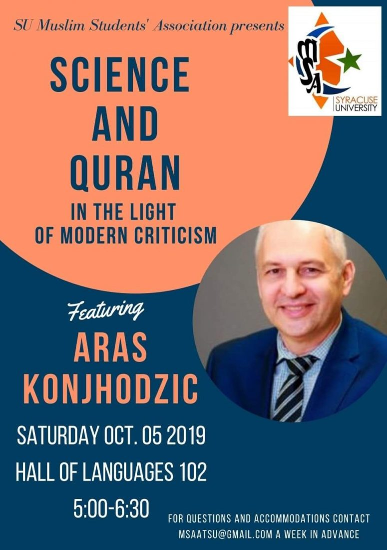 Poster announcing Science and Qur'an
