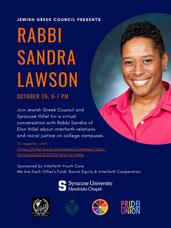 Flyer with photo of Rabbi Sandra Lawson