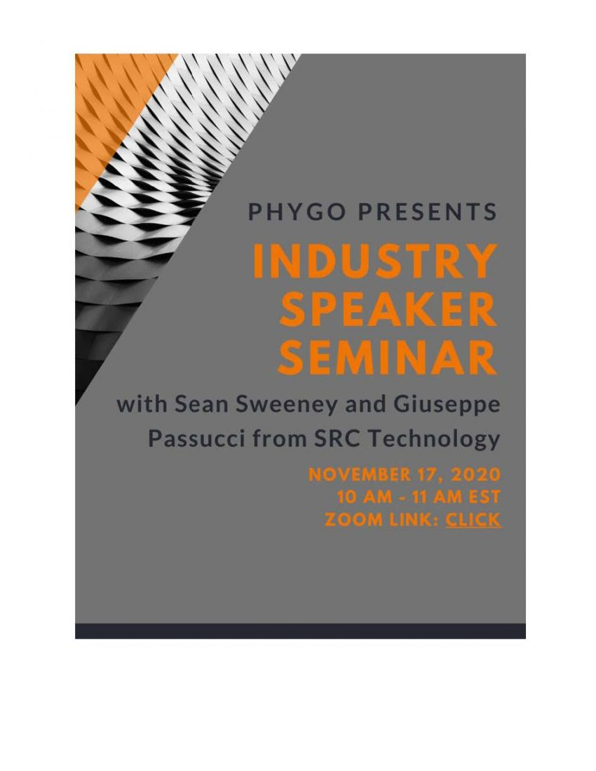 decorative flyer with speaker names and time