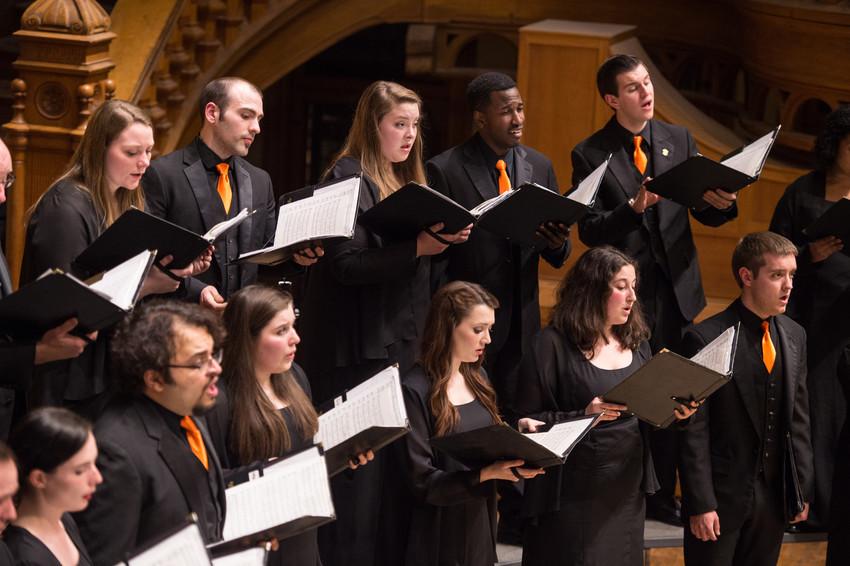 The University Singers perform in Sentor Auditorium.
