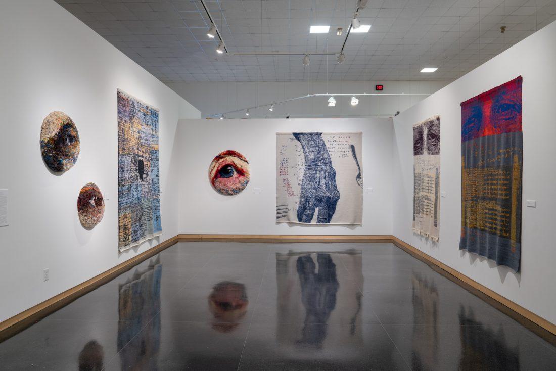 Gallery installation of Ann Clarke textiles
