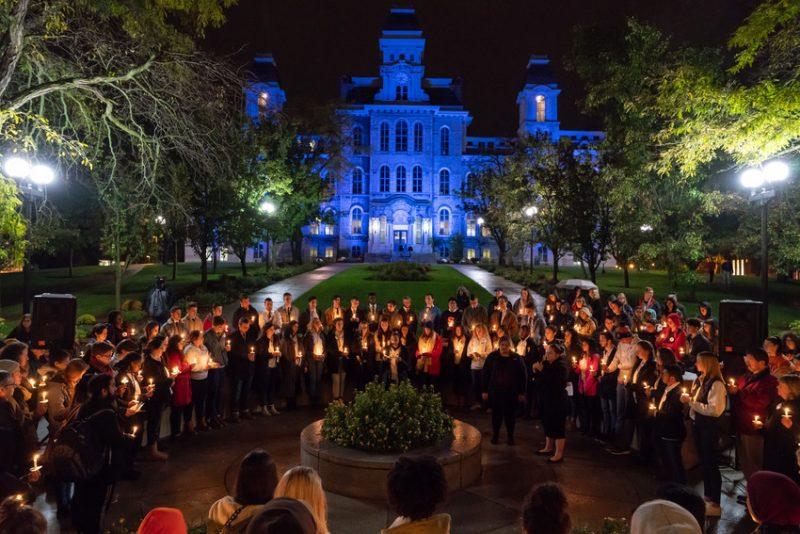 Remembrance vigil at wall