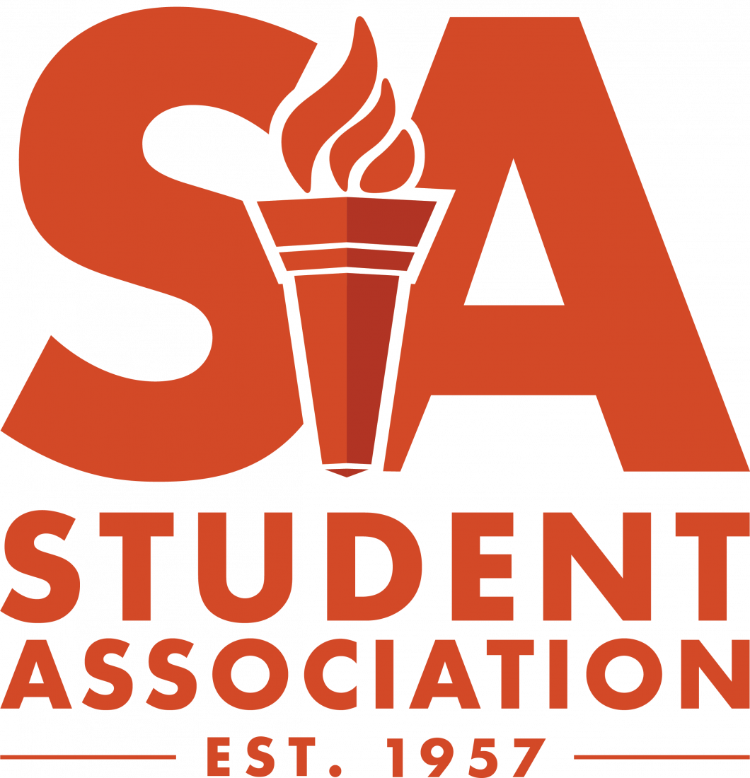 Student Association logo. In copy S A Student Association established 1957. Torch in center.