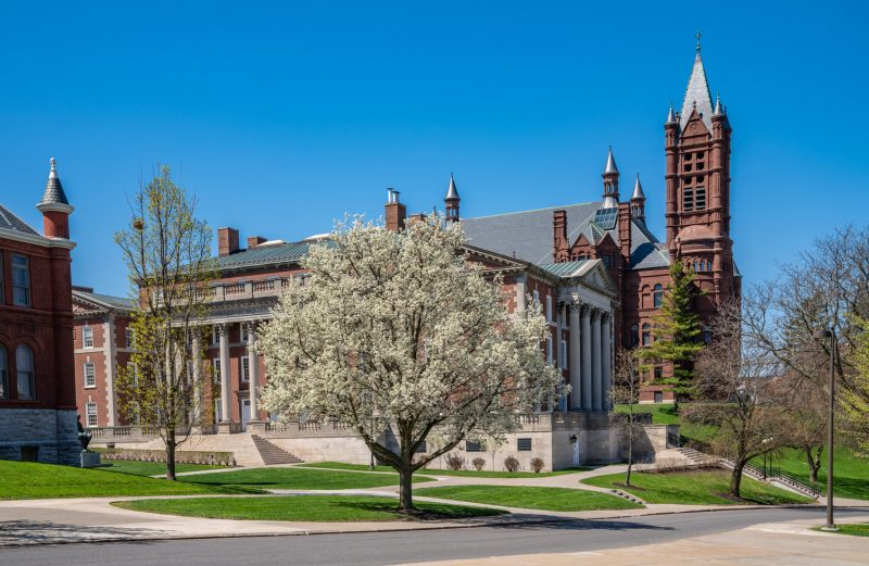 Spring Trees in Font of Crouse College, Tolley and Maxwell