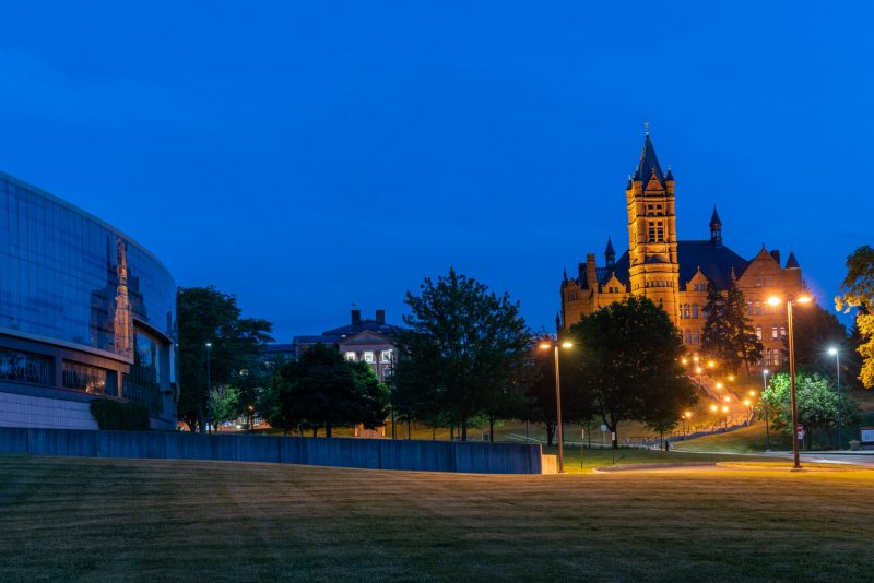 Crouse College at dusk.