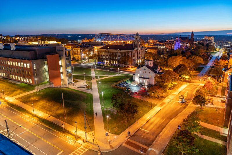 Aerial of campus and Crouse.