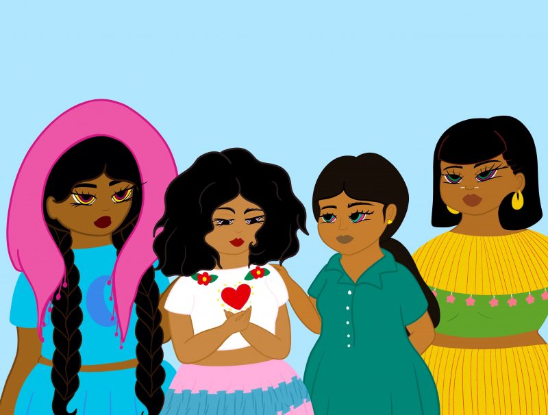 A digital drawing of four women of color standing in a row. The second from the left is cupping her hands together, and a red heart floats in the air above her hands.