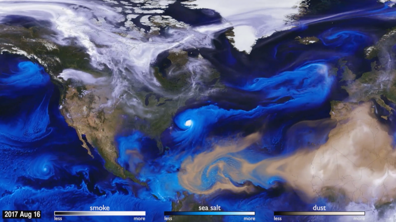 view of atmospheric aerosols from smoke, sea salt, and dust over the North Atlantic.