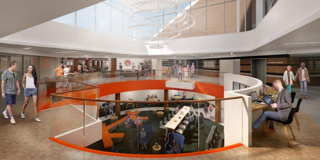 Rendering of the renovated Schine Student Center main floor entryway illuminated in natural light