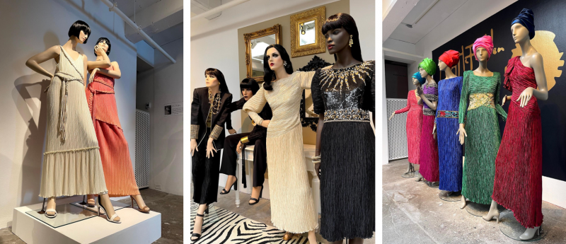 A collage of stills from the exhibition, featuring clothes designed by Mary McFadden.