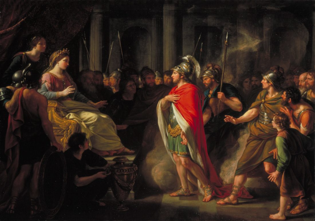 The meeting of Dido and Aeneas artwork.