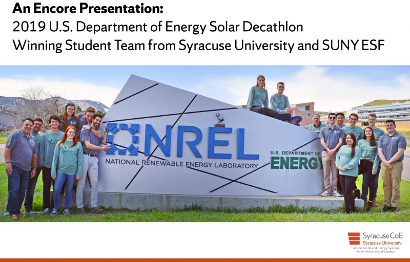 2019 solar decathlon team from Syracuse University and SUNY ESF at the US Department of Energy national renewable energy laboratory