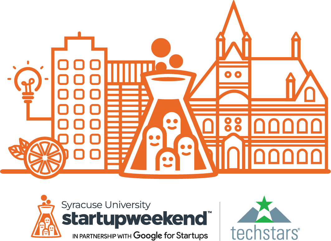 Orange illustration of builidngs and smile faces in laboratory beacon. Underneath text reads Syracuse University startup weekend in partnership with Google for Startups. Techstars logo in lower corner