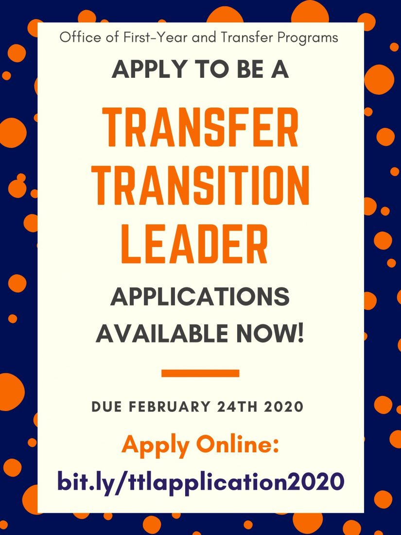 Apply to be a Transfer Transition Leader! Applications available now, and close on February 24th. Apply Online: bit.ly/ttlapplication2020
