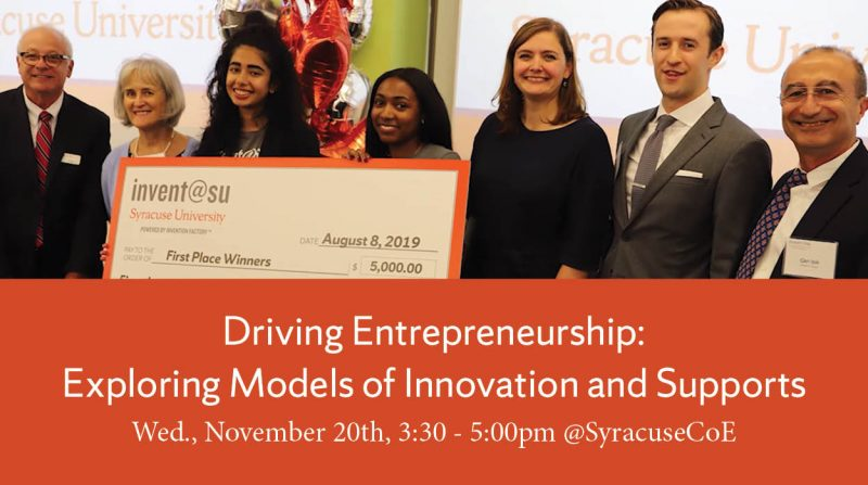 Entrepreneurial students winning an award from invent@su