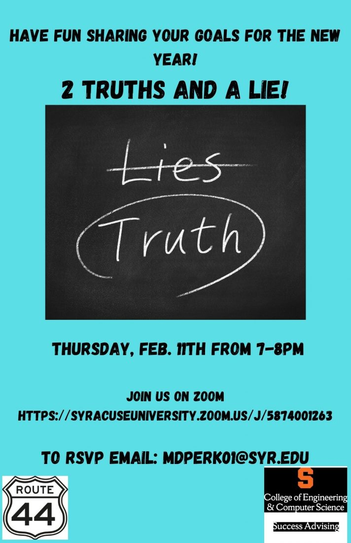 Flyer for Two Truths & A Lie Zoom Activity