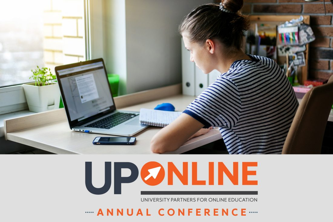 Girl sitting at desk with laptop with UP Online logo overlay