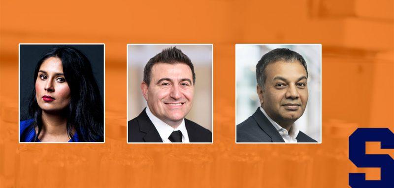 headshots of the three panelists