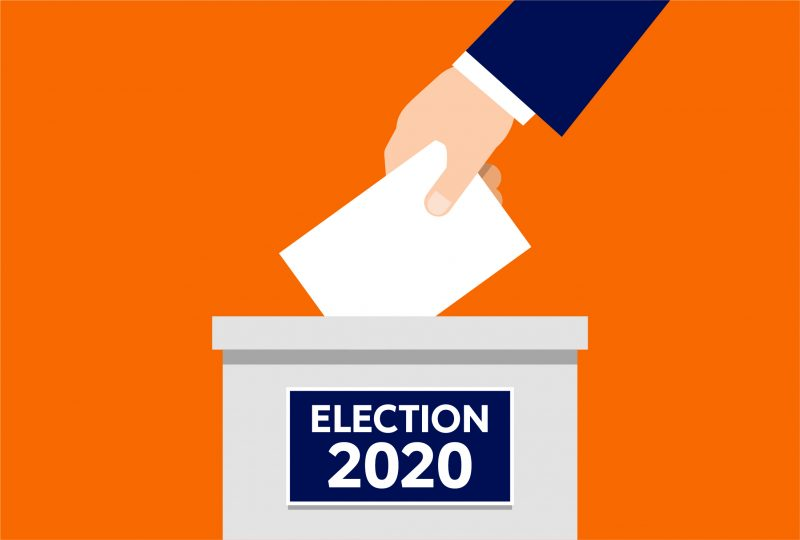 Drawing of a hand placing ballot in a box labeled Election 2020