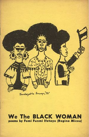 drawing in black ink of 3 black women on yellow paper
