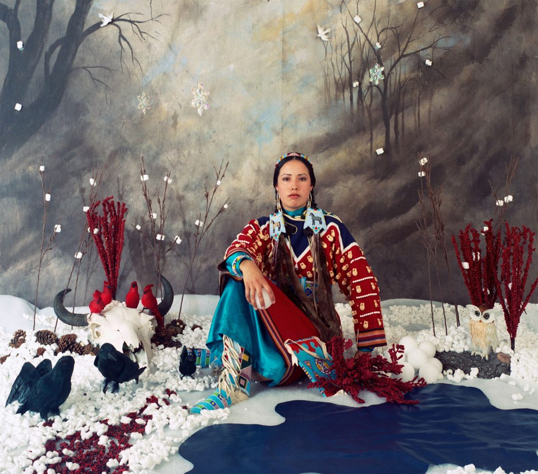Wendy Red Star self portrait in traditional Native dress