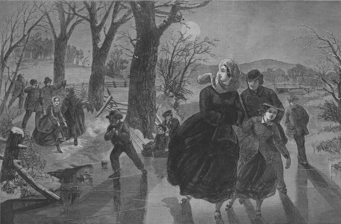 Women skating on a pond
