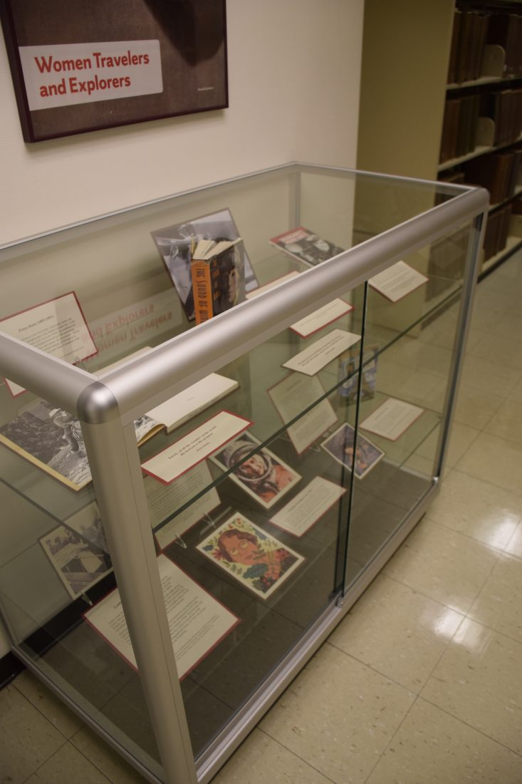 display case and sign above reading Women Travelers and Explorers