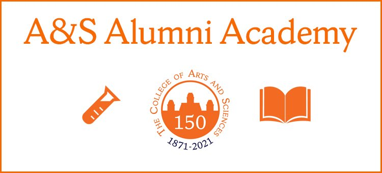 A&S Alumni Academy with illustrations of a test tube, 150th anniversary logo and an open book