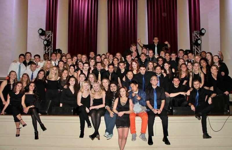 The A Cappella Council, which contains all six Syracuse A Cappella groups, posing for a photo after After Hours 2017, which is one of our combined performances. It took place at Hendricks Chapel.