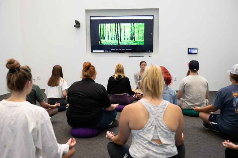 Meditation session at Barnes Center at the Arch