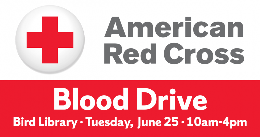 American Red Cross logo with red cross and white circle, gray text. Bottom red rectangle reads