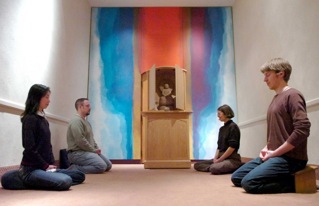 group meditation in chapel