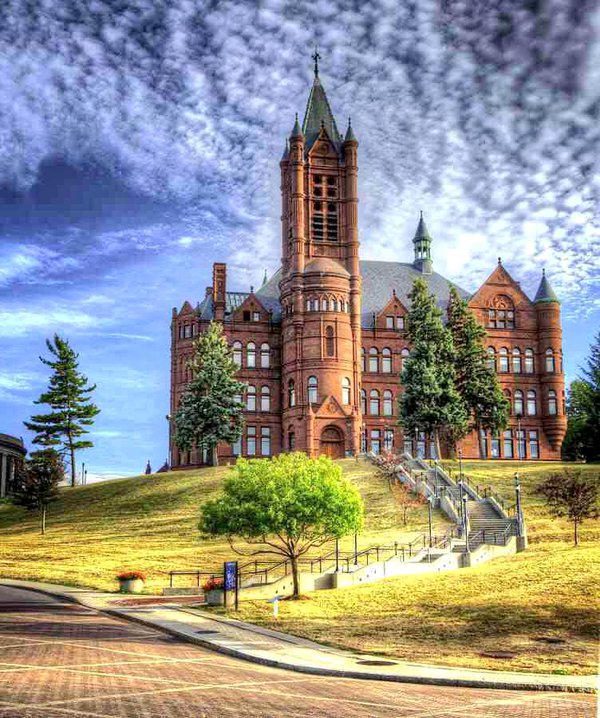 Crouse College on a sunny day.